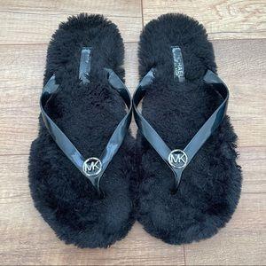 Michael Kors Jelly Faux Fur Thong Flip Flops